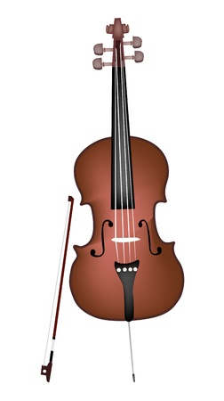 fiddlestick: Music Instrument, An Illustration of A Beautiful Cello and Bow on White Background
