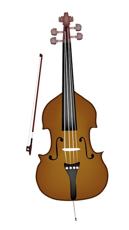 contra bass: Music Instrument, An Illustration of A Beautiful Double Bass and Bow on White Background