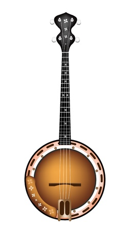 Music Instrument, An Illustration of A Single Five String Banjo on White Background