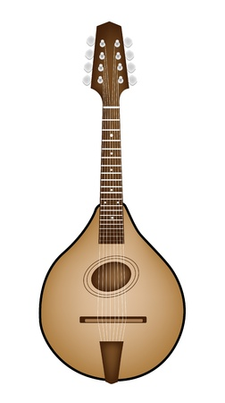 Music Instrument, An Illustration of A Beautiful Antique Bluegrass Mandolin on White Background Vector