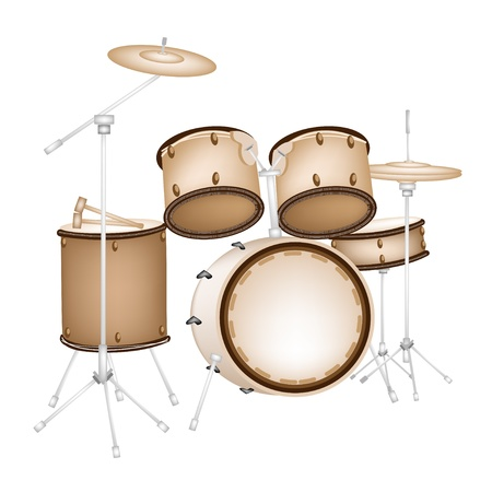 Music Instrument, An Illustration of A Set of Retro Style Jazz Drum Kit on White Background Vector