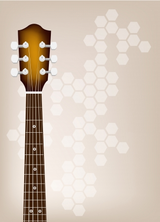 rosewood: Music Instrument, An Illustration of Acoustic Guitar Bridge on Beautiful Vintage Brown Background with Copy Space for Text Decorated