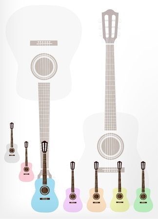 rosewood: Music Instrument, Illustration Collection Background of Colorful Classical Guitar in Grey, Pink, Light Blue, Purple, Orange, Yellow and Light Green with Copy Space for Text Decorated