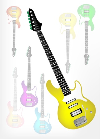 rosewood: Music Instrument, An Illustration of Yellow Electric Guitar on Beautiful Guitar Shadow Background with Copy Space for Text Decorated