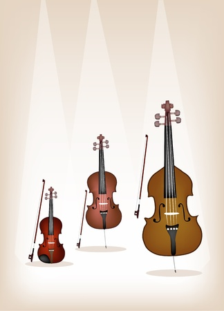 contra bass: Musical Instrument String, An Illustration Collection of Beautiful Violin, Cello and Double Bass with Bows on Brown Stage Background
