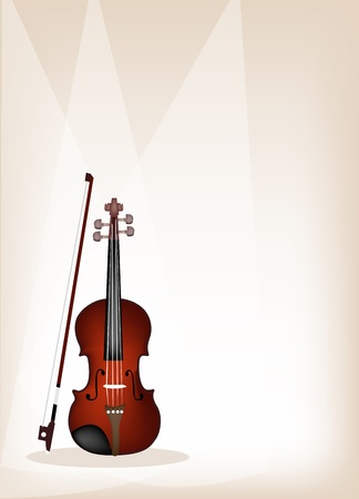 Music Instrument, An Illustration of Violin on Beautiful Vintage Brown Stage Background with Copy Space for Text Decorated