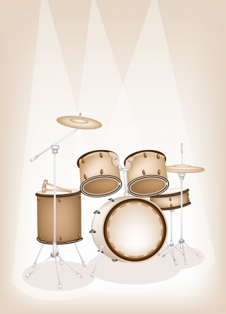 Music Instrument, An Illustration of A Set of Retro Style Jazz Drum Kit on Beautiful Vintage Brown Stage Background with Copy Space for Text  Vector