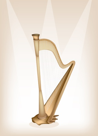 melodious: Music Instrument, An Illustration of A Single Harp on Beautiful Vintage Brown Stage Background with Copy Space for Text Decorated  Illustration
