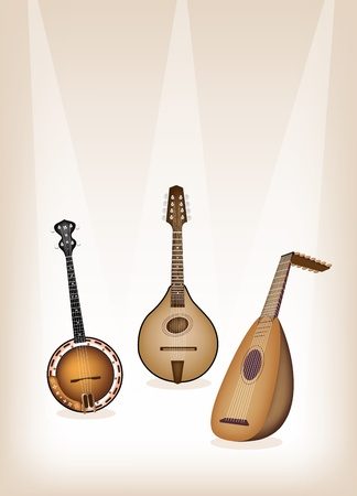 bluegrass: Music Instrument, An Illustration of A Beautiful Antique Musical Instrument Strings, Bluegrass Mandolin, Banjo and Lute on Beautiful Vintage Brown Stage Background with Copy Space for Text Decorated