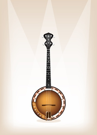 bluegrass: Music Instrument, An Illustration of A Single Five String Banjo on Beautiful Vintage Brown Stage Background with Copy Space for Text Decorated