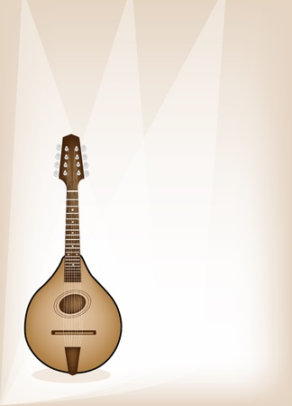 bluegrass: Music Instrument, An Illustration of A Beautiful Antique Bluegrass Mandolin on Beautiful Vintage Brown Stage Background with Copy Space for Text Decorated
