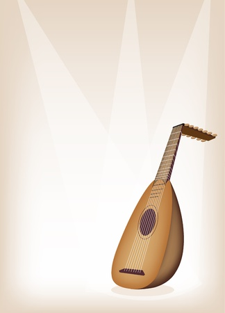 lute: Music Instrument, An Illustration of A Beautiful Antique Bluegrass Mandolin on Beautiful Vintage Brown Stage Background with Copy Space for Text Decorated