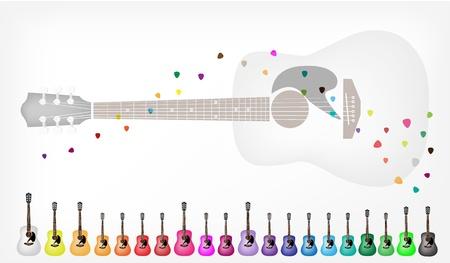 guitarra clásica: Instrumento de m�sica, ilustraci�n Colecci�n de fondo de guitarra cl�sica de colores en varios colores con copia espacio para el texto decorado Vectores