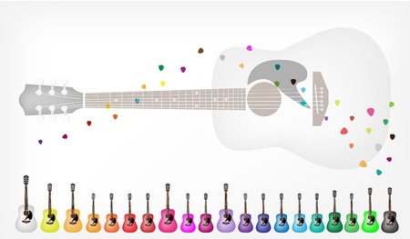 fretboard: Music Instrument, Illustration Collection Background of Colorful Classical Guitar in Various Colors with Copy Space for Text Decorated  Illustration