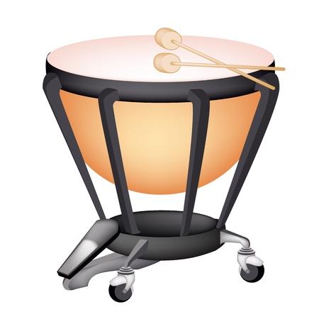 음악 악기, 흰색 배경에 복고 스타일의 클래식 팀파니 또는 주전자 드럼의 그림 일러스트