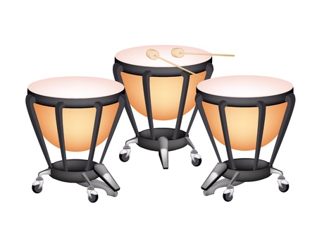djembe: Music Instrument, An Illustration of Three Retro Style Classical Timpani or Kettle Drum on White Background