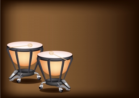 djembe: Music Instrument, Illustration of Two Retro Style Classical Timpani or Kettle Drum on Beautiful Vintage Dark Brown Background with Copy Space for Text