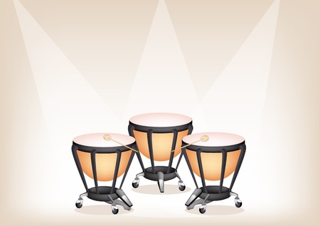 djembe: Music Instrument, Illustration of Two Retro Style Classical Timpani or Kettle Drum on Vintage Brown Stage Background with Copy Space for Text Decorated