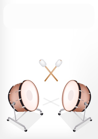 Music Instrument, An Illustration of A Beautiful Retro Style Classical Bass Drum on Stand with Drumsticks Stock Vector - 19408436