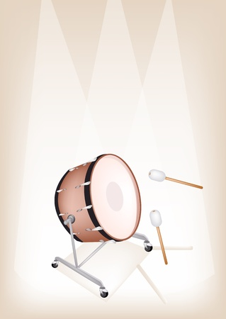 Music Instrument, An Illustration of A Beautiful Retro Style Classical Bass Drum on Vintage Brown Stage Background with Copy Space for Text Decorated  Vector