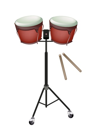 drumsticks: Music Instrument, An Illustration of A Retro Style Classical Bongo Drum on Stand with Drumsticks on White Background