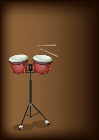 drumsticks: Music Instrument, An Illustration of A Retro Style Classical Bongo Drum on Stand with Drumsticks on Beautiful Vintage Dark Brown Background with Copy Space for Text