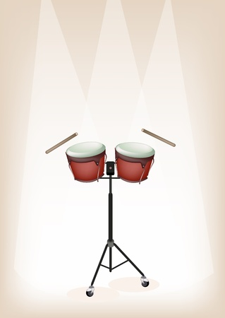 bongo drum: Music Instrument, An Illustration of A Retro Style Classical Bongo Drum on Stand with Drumsticks on Vintage Brown Stage Background with Copy Space for Text Decorated