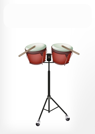 bongo drum: Music Instrument, An Illustration of A Retro Style Classical Bongo Drum on Stand with Drumsticks