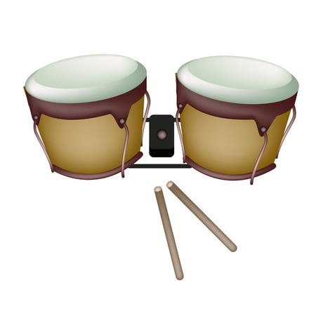 bongo drum: Music Instrument, An Illustration of Retro Style Classical Bongo Drum with Drumsticks on White Background
