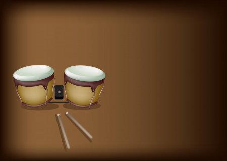 bongo drum: Music Instrument, An Illustration of A Retro Style Classical Bongo Drum with Drumsticks on Beautiful Vintage Dark Brown Background with Copy Space for Text  Illustration