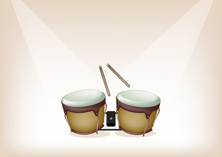 bongo drum: Music Instrument, An Illustration of A Retro Style Classical Bongo Drum with Drumsticks on Vintage Brown Stage Background with Copy Space for Text Decorated  Illustration