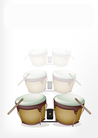 bongo drum: Music Instrument, An Illustration of Retro Style Classical Bongo Drum with Drumsticks on Bongos Shadow Background Illustration