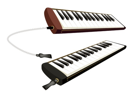 Music Instrument, Illustration of Two Vintage Melodica in Brown and Black Colors Isolated on White Background