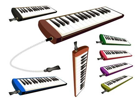 melodious: Music Instrument, An Illustration Collection of Colorful Melodica Isolated on White Background Illustration