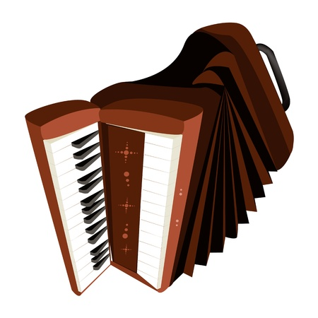 Music Instrument, An Illustration Brown Color of Vintage Accordion Isolated on White Background Vector