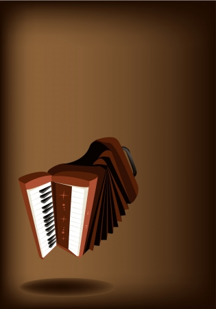 Music Instrument, An Illustration Brown Color of Vintage Accordion on Beautiful Dark Brown Background with Copy Space for Text Decorated  Vector