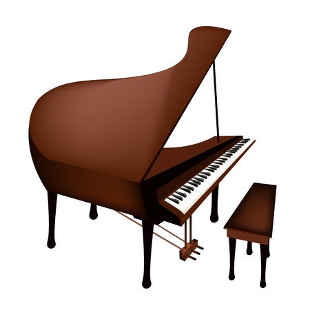 Music Instrument, An Illustration Brown Color of Vintage Grand Piano Isolated on White Background Vector