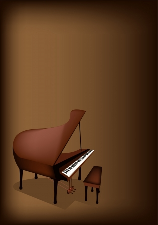 Music Instrument, An Illustration Brown Color of Vintage Grand Piano on Beautiful Dark Brown Background with Copy Space for Text Decorated  Vector