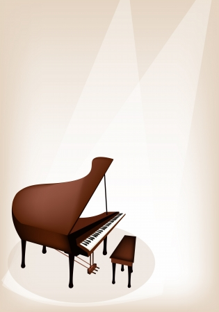 Music Instrument, An Illustration Brown Color of Vintage Grand Piano on Brown Stage Background with Copy Space for Text Decorated Vector