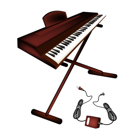 synthesizer: Music Instrument, An Illustration Brown Color of Digital Midi Keyboard or Synthesizer Isolated on White Background