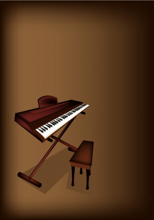 fretboard: Music Instrument, An Illustration Brown Color of Digital Midi Keyboard or Synthesizer on Beautiful Vintage Dark Brown Background with Copy Space for Text Decorated  Illustration