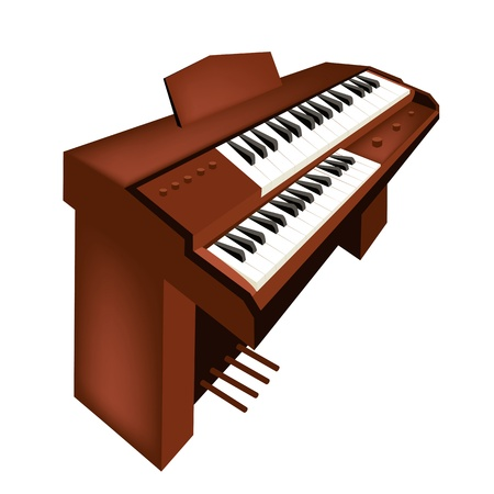 melodious: Music Instrument, An Illustration Brown Color of Vintage Pipe Organ Isolated on White Background