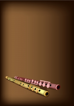 piccolo: Music Instrument, An Illustration Brown Color of Vintage Piccolo Flute on Beautiful Vintage Dark Brown Background with Copy Space for Text Decorated