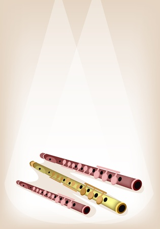 piccolo: Music Instrument, An Illustration Brown Color of Vintage Piccolo Flute on Brown Stage Background with Copy Space for Text Decorated