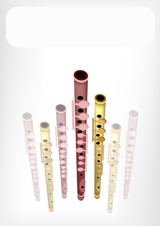 piccolo: Music Instrument, An Illustration Brown Color of Vintage Piccolo Flute with White Label for Copy Space and Text Decorated