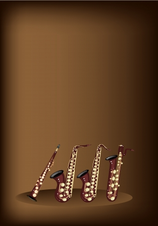 tenor: Music Instrument, An Illustration Four Kind of Saxophone, Soprano Saxophone, Alto Saxophone, Baritone Saxophone and Tenor Saxophone on Beautiful Vintage Dark Brown Background with Copy Space for Text Decorated