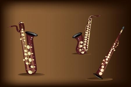 soprano saxophone: Instrumento de m�sica, ilustraci�n tres tipos de Saxof�n, Saxof�n Soprano, Saxof�n Alto Saxof�n Bar�tono y de Brown Vintage Hermoso fondo oscuro con copia espacio para el texto decorado