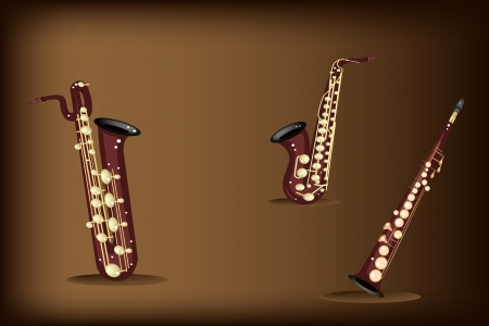 soprano saxophone: Instrumento de música, ilustración tres tipos de Saxofón, Saxofón Soprano, Saxofón Alto Saxofón Barítono y de Brown Vintage Hermoso fondo oscuro con copia espacio para el texto decorado