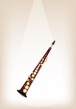 soprano saxophone: Instrumento de música, una ilustración Marrones Color de oro Saxofón Soprano vendimia en el fondo de Brown Stage con copia espacio para el texto decorado