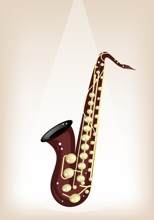 Music Instrument, An Illustration Brown Color of Golden Vintage Tenor Saxophone on Brown Stage Background with Copy Space for Text Decorated Stock Vector - 19856510